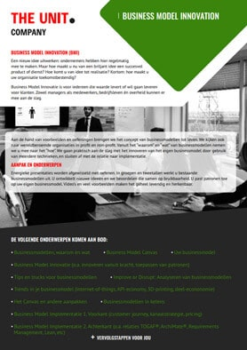 Business Model Innovation flyer - The Unit Company